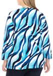 Plus Size Easy Street 3/4 Sleeve Wave Print T-Shirt
