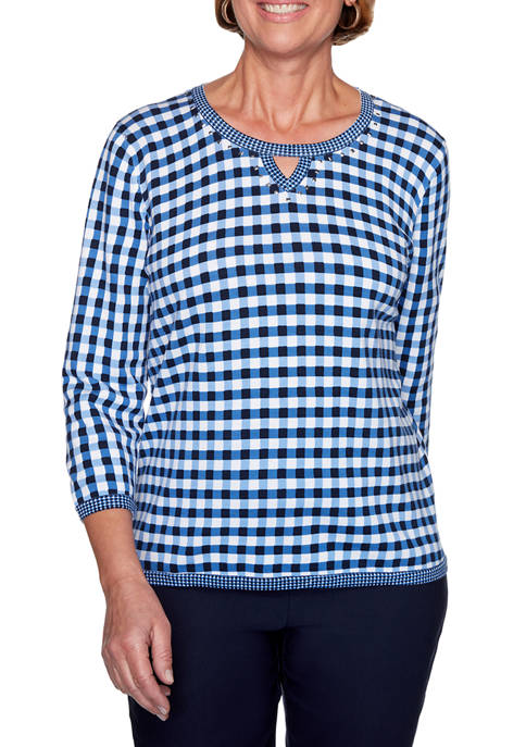 Plus Size Easy Street 3/4 Sleeve Gingham Sweater
