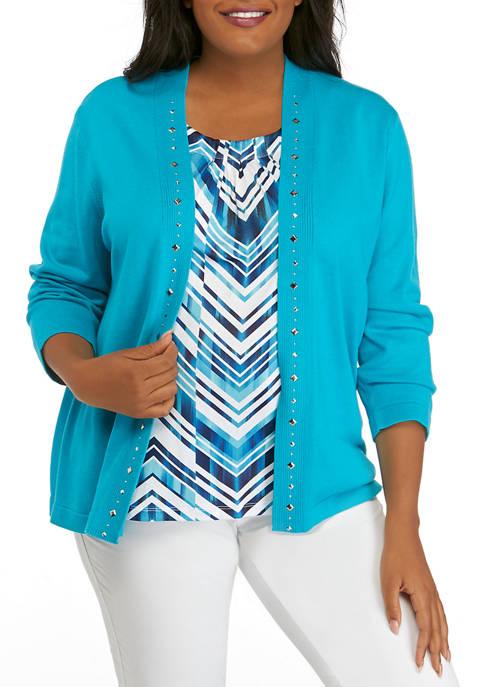 Plus Size 3/4 Sleeve Zigzag 2fer Top