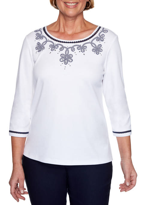 Alfred Dunner Petite Easy Street Gingham Soutache Top