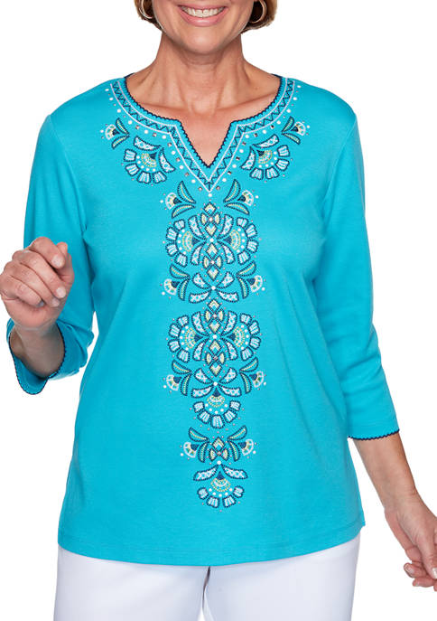 Alfred Dunner Petite Easy Street Embroidered Center Top