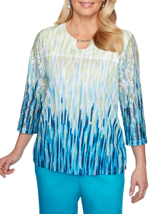 Alfred Dunner Petite Ombre Texture Knit Blouse