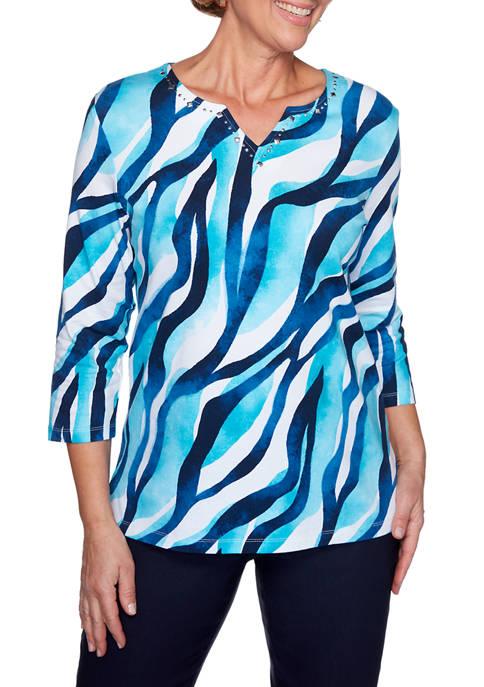 Petite Easy Street Wave Print Knit T-Shirt
