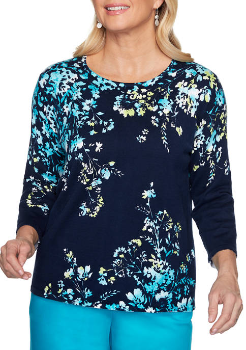Alfred Dunner Petite Easy Street Floral Sweater