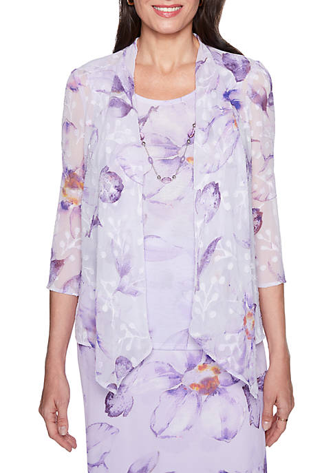 Alfred Dunner Roman Holiday Floral 2Fer Top