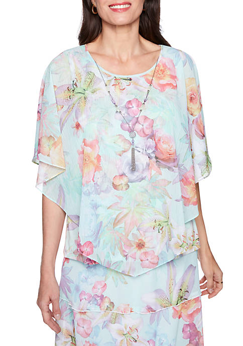 Alfred Dunner Roman Holiday Botanical Woven Overlay Blouse
