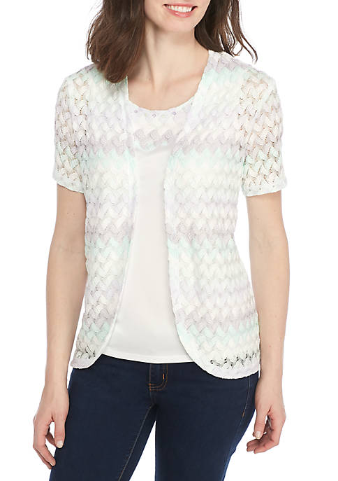 Alfred Dunner Roman Holiday Biadere Knit 2Fer Top