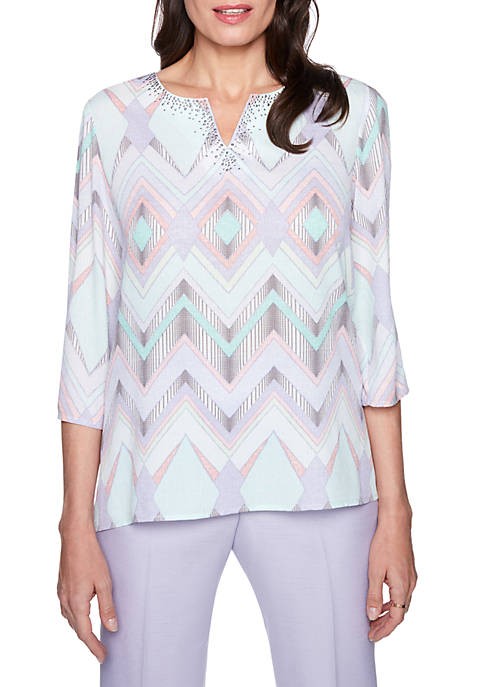 Alfred Dunner Petite Roman Holiday Zig Zag Woven