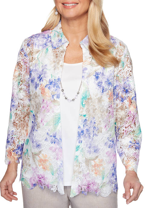 Alfred Dunner Womens Nantucket Floral Lace 2Fer Top