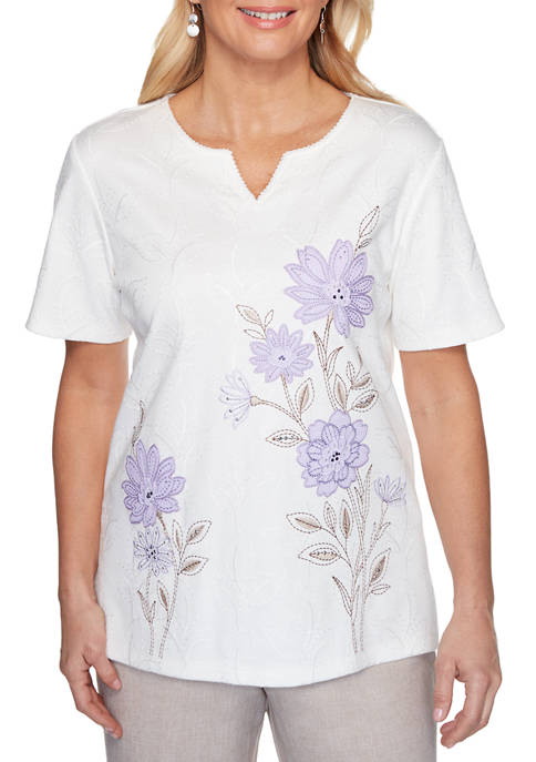 Alfred Dunner Womens Nantucket Embroidered Floral Knit Top