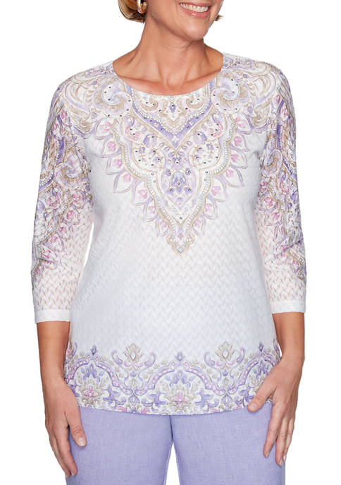 Alfred Dunner Womens Scroll Yoke and Border Top