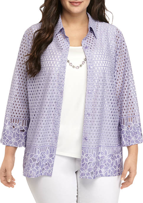 Alfred Dunner Plus Size 3/4 Sleeve 2Fer Top