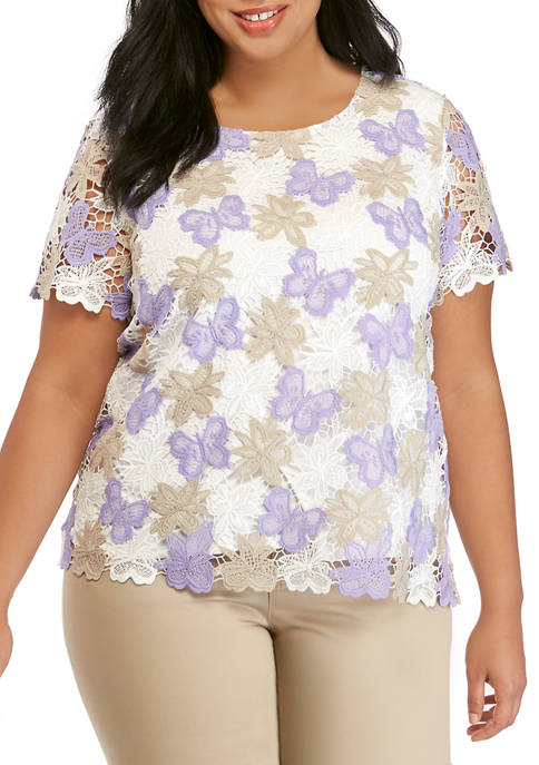 Alfred Dunner Plus Size Butterfly Lace Top
