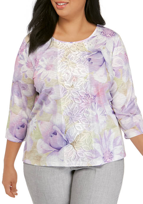 Alfred Dunner Plus Size 3/4 Sleeve Floral Lace