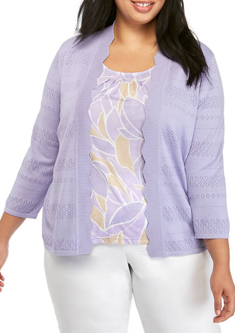 Alfred Dunner Plus Size 3/4 Sleeve Abstract Leaf
