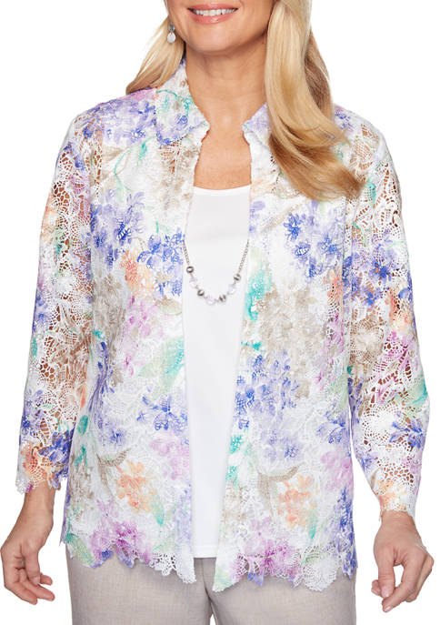 Alfred Dunner Petite Nantucket Floral Lace 2Fer Top