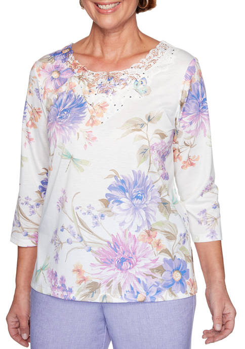 Alfred Dunner Petite Nantucket Floral Dragonfly Top