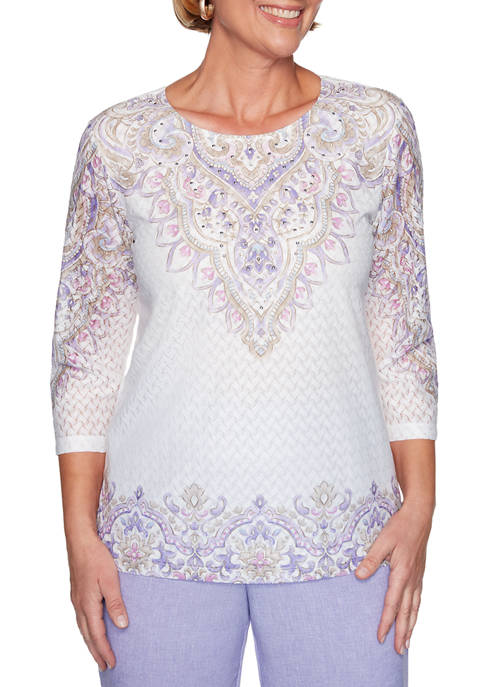 Alfred Dunner Petite Nantucket Embroidery Floral Knit Top