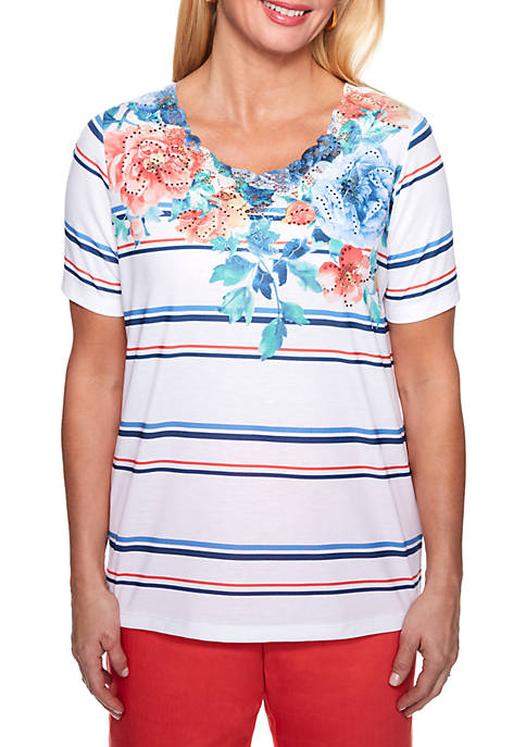 Alfred Dunner Floral Stripe Knit Top