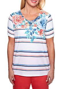 Floral Stripe Knit Top