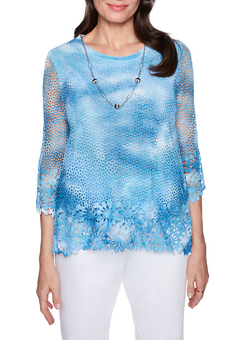Alfred Dunner Tie Dye Floral Sweater