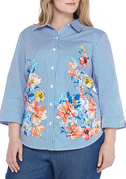 Alfred Dunner Plus Size Stripe Floral Woven Top