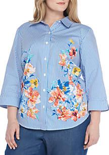 Plus Size Stripe Floral Woven Top