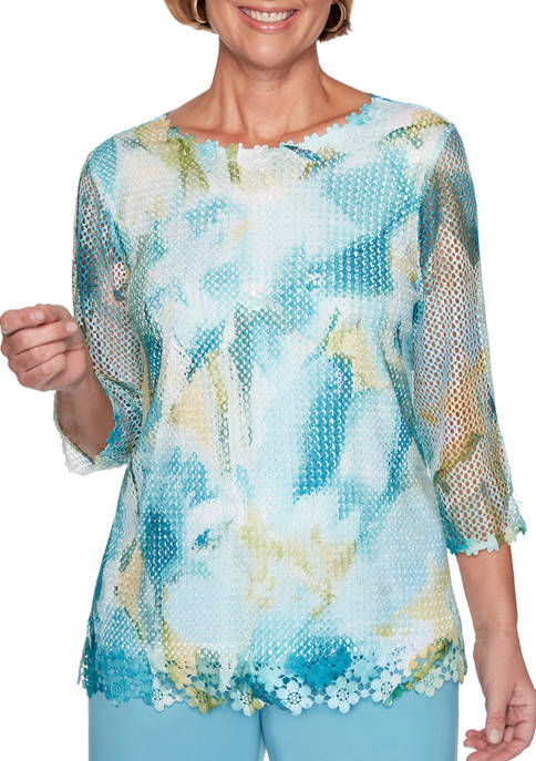 Alfred Dunner Womens Chesapeake Bay Mesh Floral Abstract