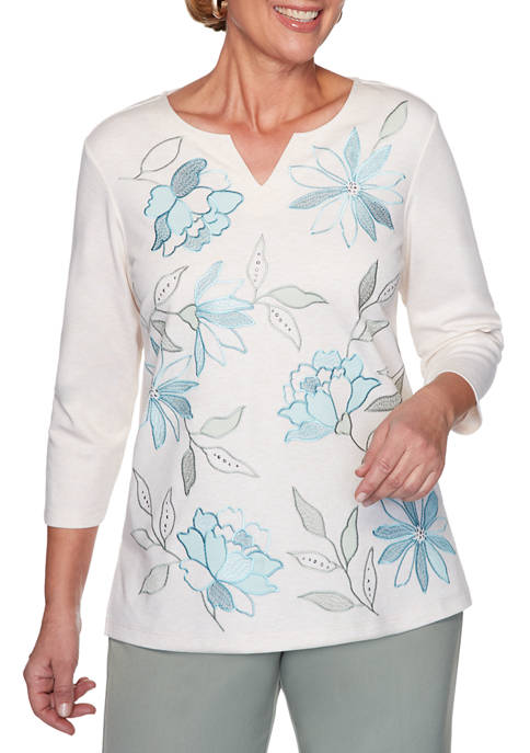 Alfred Dunner Womens Chesapeake Bay Floral Leaf Embellished
