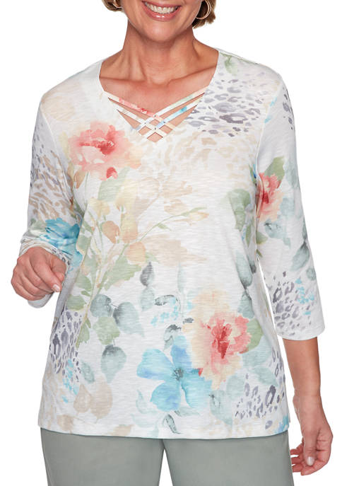 Alfred Dunner Womens Chesapeake Bay Floral Top