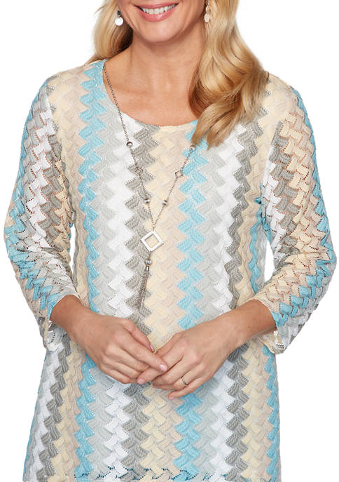 Womens Chesapeake Bay Lace Vertical Texture Top