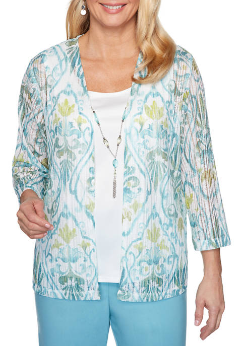Alfred Dunner Womens Chesapeake Bay Scroll 2Fer Top