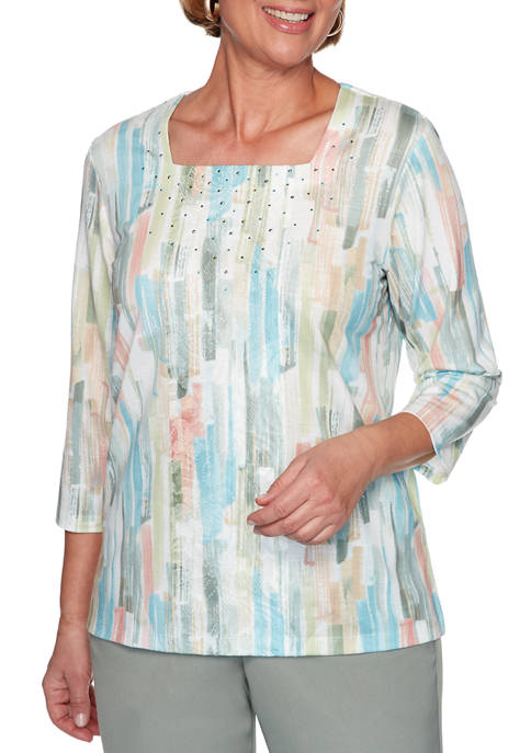 Alfred Dunner Womens Chesapeake Bay Brushstroke Lace Top