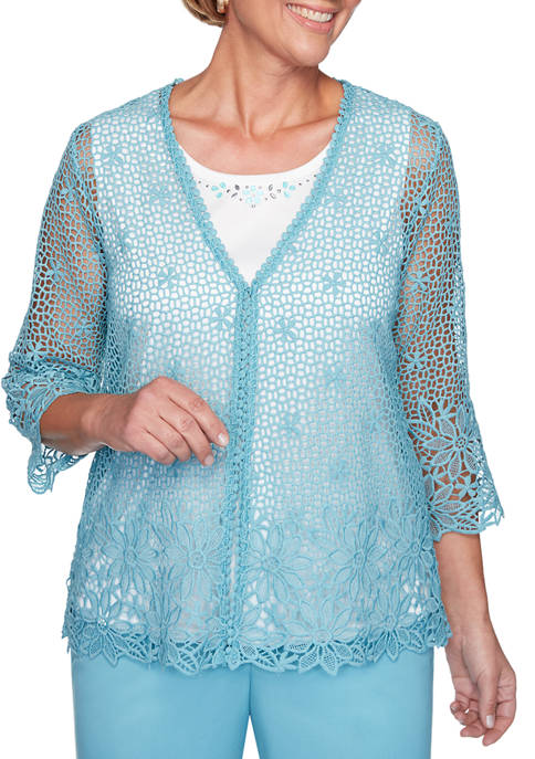 Alfred Dunner Womens Chesapeake Bay Crochet Lace Two