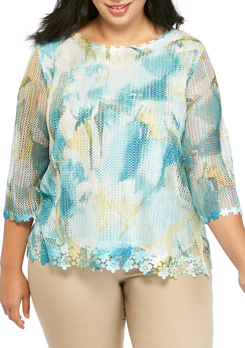 Alfred Dunner Plus Size 3/4 Sleeve Mesh Floral