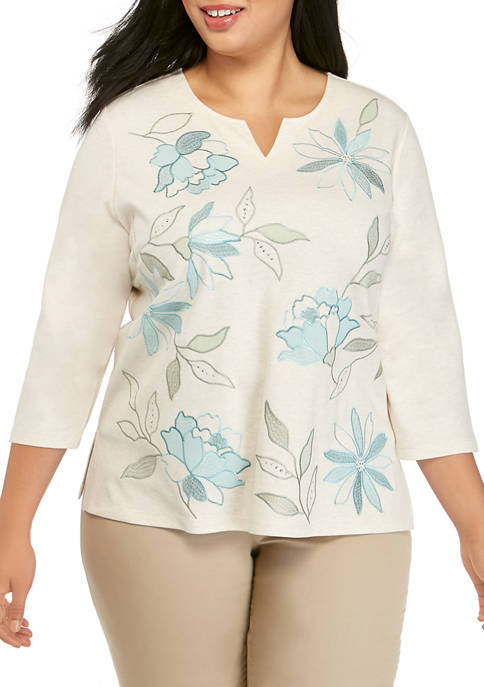 Plus Size 3/4 Sleeve Floral Leaf Top