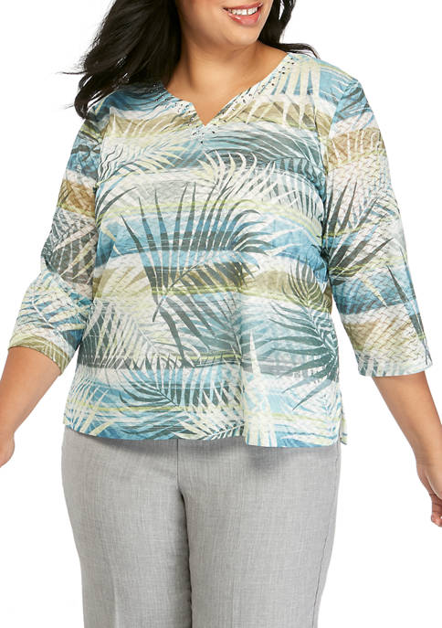 Plus Size 3/4 Sleeve Tropical Split Neck Top