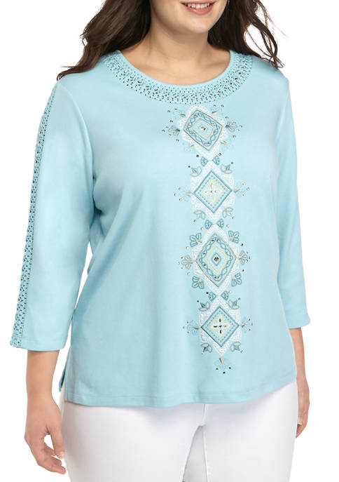 Alfred Dunner Plus Size 3/4 Sleeve Center Diamonds