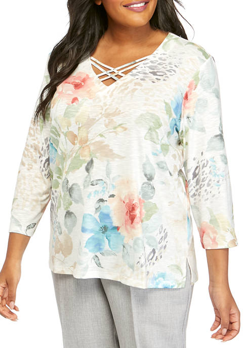 Alfred Dunner Plus Size Animal Floral Knit T-Shirt