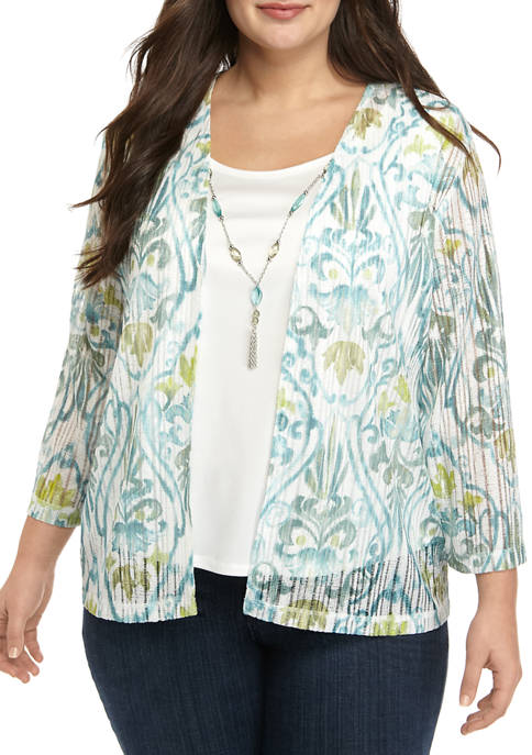 Alfred Dunner Plus Size 3/4 Sleeve Scroll 2Fer