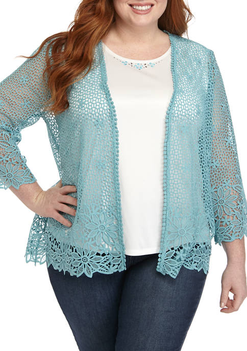 Alfred Dunner Plus Size 3/4 Sleeve Crochet Lace