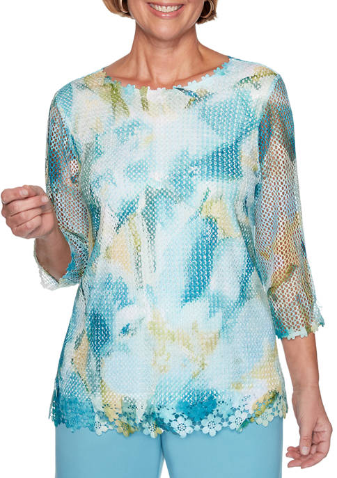 Alfred Dunner Petite Chesapeake Bay Mesh Floral Abstract