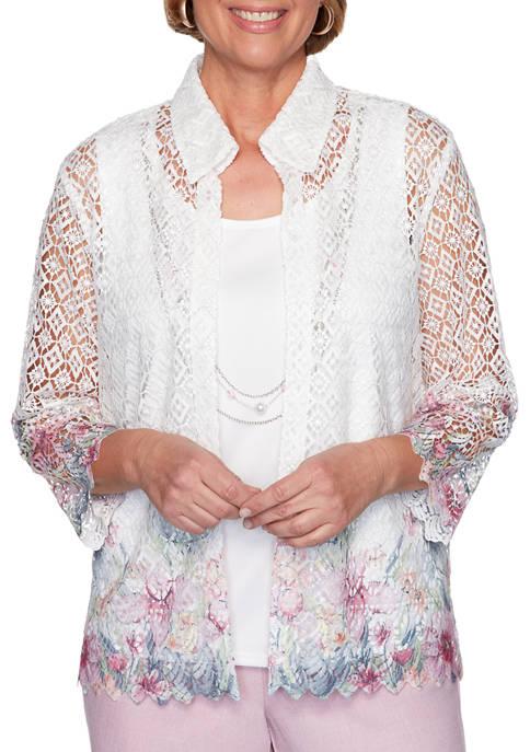 Alfred Dunner Womens Primrose Garden 2020 Shirt