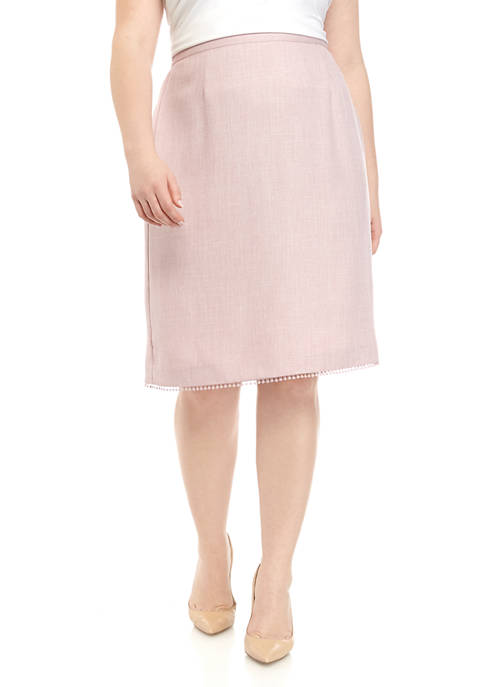 Alfred Dunner Plus Size Lace Trim Skirt