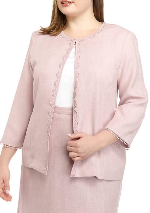 Plus Size Lace Trim Jacket