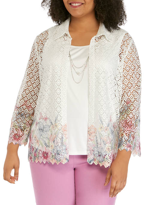 Plus Size 3/4 Sleeve Floral Border 2Fer Top