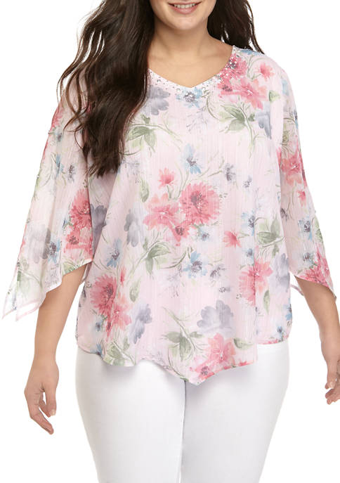 Plus Size 3/4 Sleeve Floral Shimmer Blouse