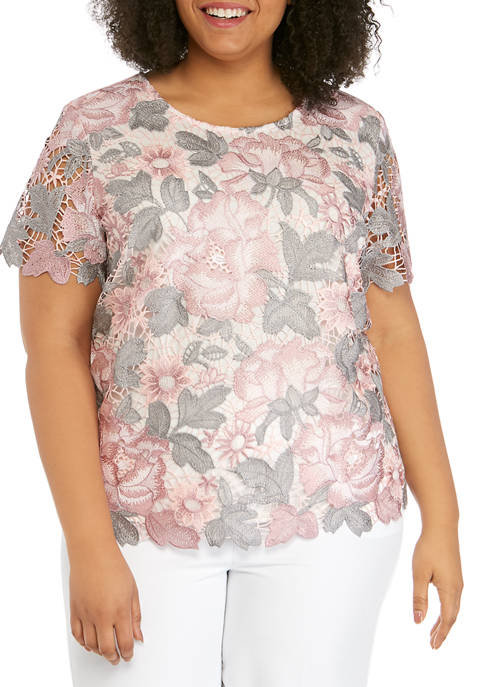 Alfred Dunner Plus Size Short Sleeve Floral Lace
