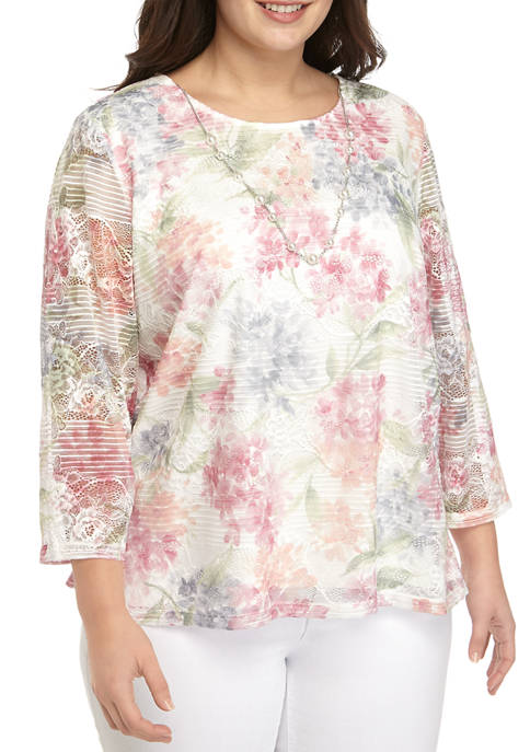 Alfred Dunner Plus Size Long Sleeve Lace Top