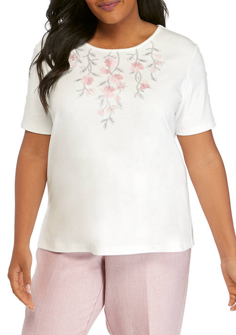 Alfred Dunner Plus Size Floral Applique Top